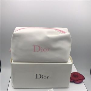 Dior Beauty White Makeup / Cosmetic Toiletries Bag